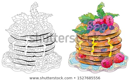 Stock photo: Vector pancakes with raspberries, blueberries and mint leaves.