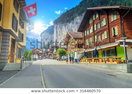 パノラマ 谷 アルプス山脈 スイス 自然 風景 ストックフォト © lightpoet