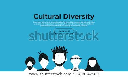 Różnorodny kultury lądowanie strona szablon świętować Zdjęcia stock © cienpies