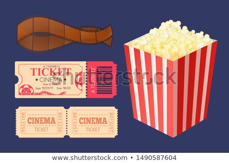 Cinema Ticket and Movie Tape Popcorn Snack Package Stock photo © robuart