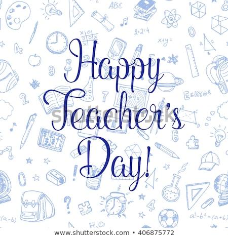 tanár · nap · üdvözlet · iskolatábla · alma · kék - stock fotó © robuart