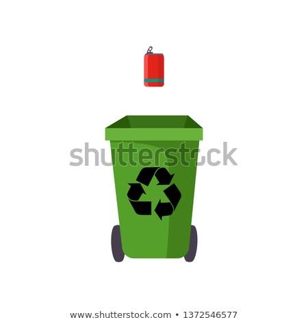 Zdjęcia stock: Metal · odpadów · podpisania · banner · cyna · puszka