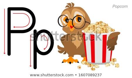 English letter abc alphabet learning. Owl hold popcorn Stock photo © orensila