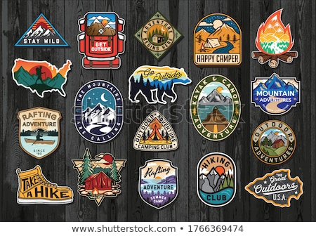 Vintage mountain camp logos, adventure badges set. Hand drawn labels designs. Travel expedition insi Stock photo © JeksonGraphics