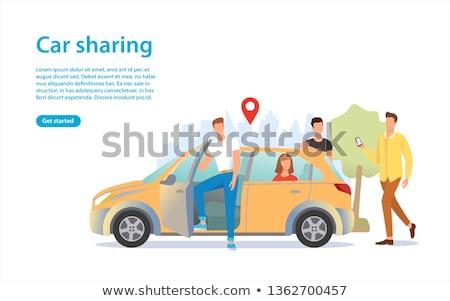 Taxi groep mensen online auto icon vector Stockfoto © pikepicture