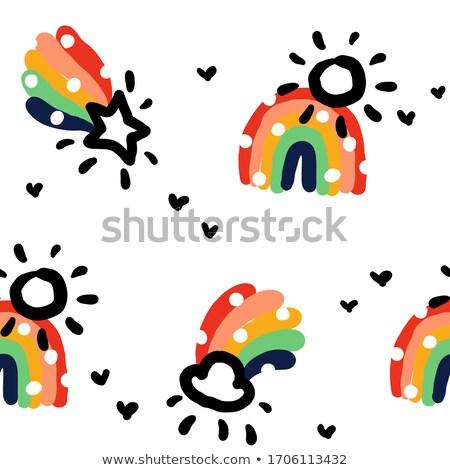 бесшовный наивный шаблон радуга дождь облаке Сток-фото © ussr