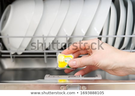 Reinigungsmittel Tablet Geschirrspüler Hand halten Stock foto © hamik
