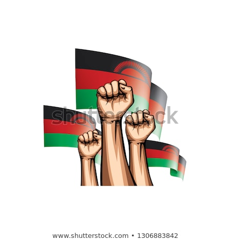 Malawi flag and hand on white background. Vector illustration Stock photo © butenkow