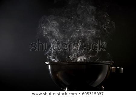 Metal grill hot węgiel górę widoku Zdjęcia stock © karandaev