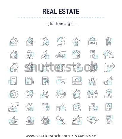 realtor with buyer and seller icon vector outline illustration Stock photo © pikepicture