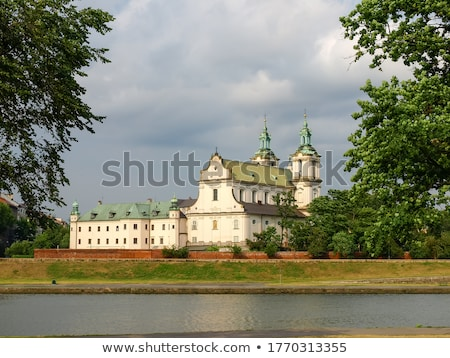 Igreja cracóvia Polônia ver rio noite Foto stock © borisb17