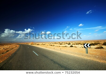 Сахара · шоссе · знак · зеленый · облаке · улице · пустыне - Сток-фото © kbuntu