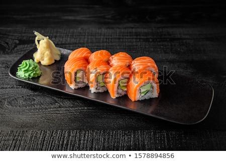 Szett japán szusi hagyományos japán étel hal Stock fotó © fanfo
