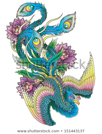Colorful Phoenix on temple roof Stock photo © pinkblue