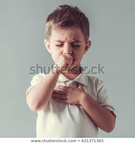Kind jongen hoesten griep ander winter Stockfoto © lovleah