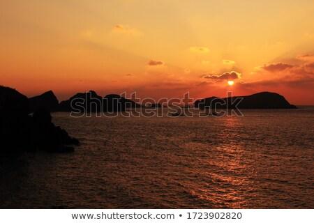 oceaan · zonsondergang · eiland · strand · hemel - stockfoto © MichaelVorobiev