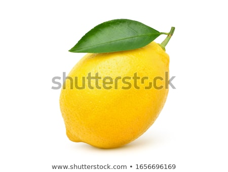 Stock photo: Lemon fruit on green leaf with dew