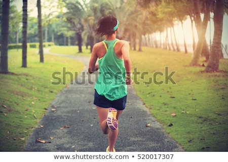 The green grass to the footpath running. Stock photo © justinb