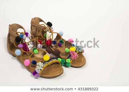 Vrouw gladiator sandalen lange benen zwarte kousen Stockfoto © lubavnel