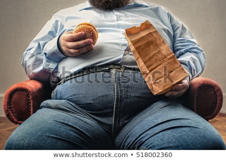 Kövér férfi nagy has mérőszalag izolált fehér Stock fotó © courtyardpix