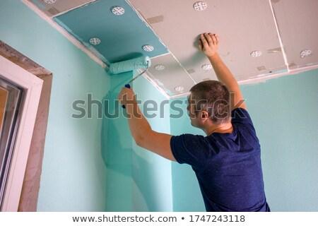 Pintor teto mulher casa menina mão Foto stock © photography33
