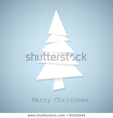 Simple vector christmas tree cut out from white paper stock photo © orson
