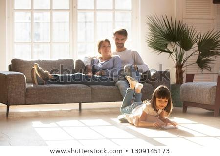 Csendes hobbi család bélyeg tanul mosolyog Stock fotó © photography33