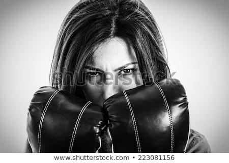 imprenditrice · boxing · donna · d'affari · fotocamera · pronto · lotta - foto d'archivio © photography33
