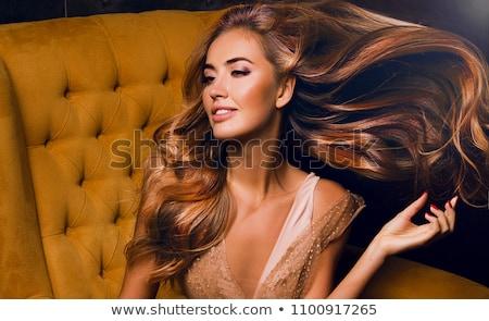 brunette · vrouw · lang · haar · droom · vrouwen - stockfoto © carlodapino