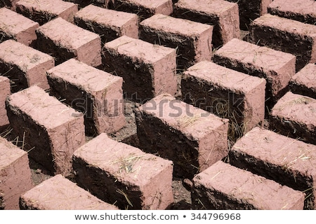 rows of adobe bricks drying in the sun stock photo © rhamm