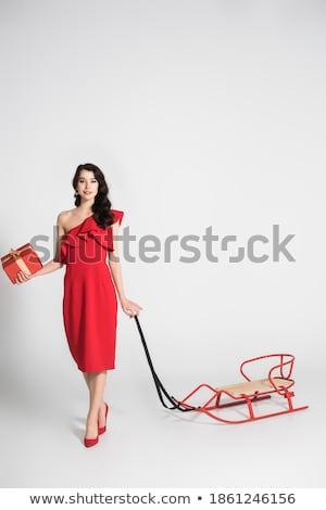 trendi · barna · hajú · pózol · vörös · ruha · stúdiófelvétel · lány - stock fotó © gromovataya
