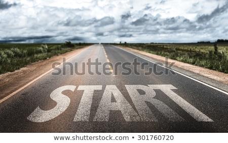 Verkeersbord woorden blauwe hemel wolken teken Stockfoto © Quka