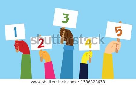 Desenho animado mãos números um dois desenho Foto stock © indiwarm