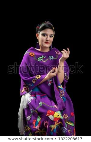 vrouw · krans · bloemen · jonge · vrouw · boeket - stockfoto © victoria_andreas