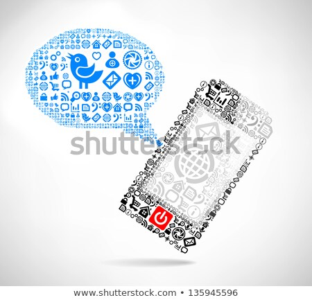 mobile phone text message balloons made of icons stock photo © m_pavlov