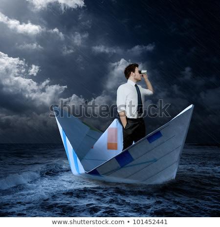 Kâğıt tekne fırtınalı okyanus gökyüzü deniz Stok fotoğraf © mike_expert