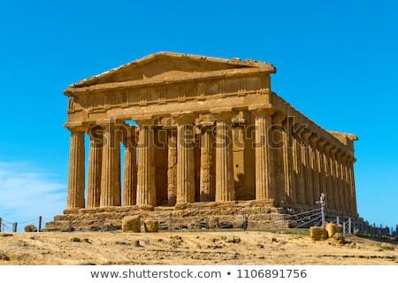 Grego templo paisagem rocha retro Foto stock © smuki