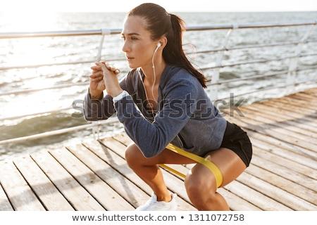 Foto stock: Hombre · pilates · playa · verano · yoga · entrenamiento