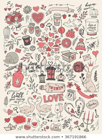 Katten liefde harten vogels vector Rood Stockfoto © beaubelle