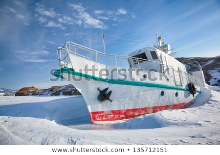 Stock fotó: Jég · jacht · tél · kockák · tó · nap