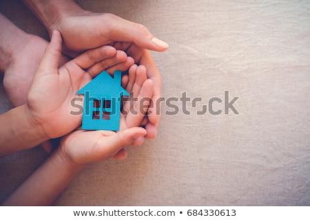 otthon · kezek · nő · család · ház · fű - stock fotó © Alegria111