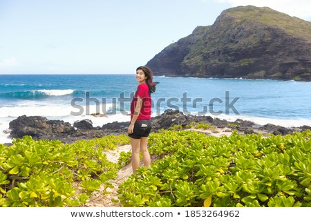 Smiling biracial young woman standing on beach by ocean Stock photo © jarenwicklund