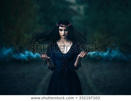 beautiful witch in purple and black gothic halloween outfit stock photo © elisanth