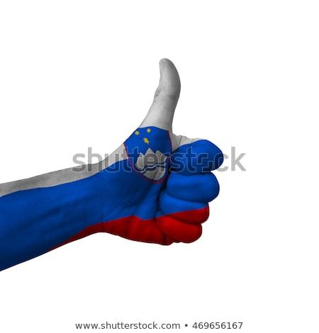 Foto stock: Eslovenia · bandeira · polegar · para · cima · gesto · excelência