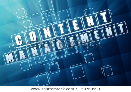 content management in blue glass cubes - internet concept Stock photo © marinini