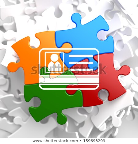 id card icon on multicolor puzzle stock photo © tashatuvango