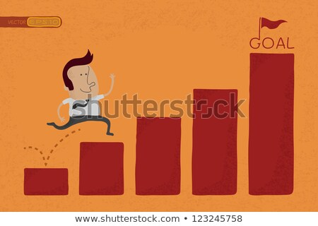 happy businessman jump over graph stat to goal eps10 vector fo stock photo © ratch0013