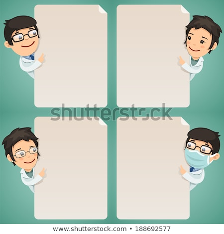 doctors cartoon characters looking at blank poster set stock photo © voysla