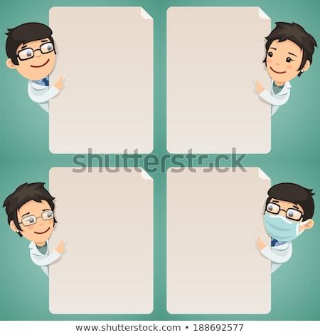 Stock photo: Doctors Cartoon Characters Looking at Blank Poster Set