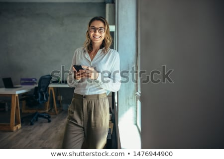 gülümseme · işkadını · Asya · portre · beyaz · iş - stok fotoğraf © elwynn